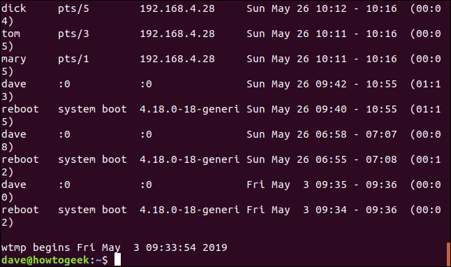 output from last in a terminal window