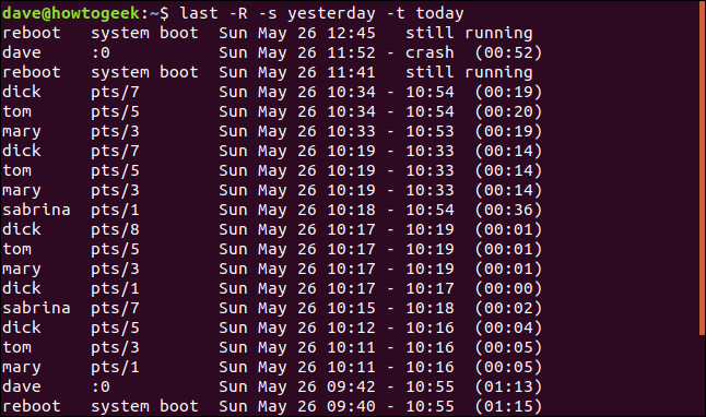 Output from last -R -s yesterday -t today in a terminal window