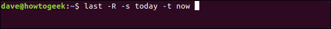 last -R -s today - t now in a terminal window