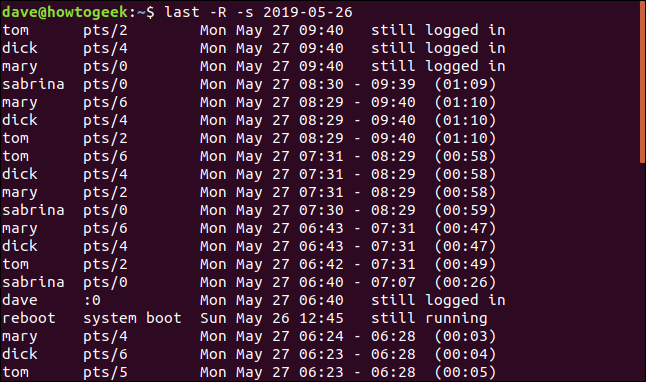 Output from last -R -s 2019-05-26 in a terminal window