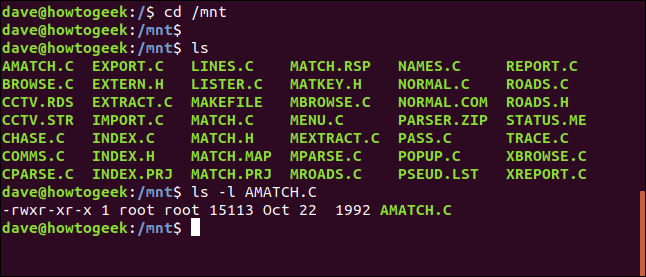 contents of a floppy disk in a terminal window