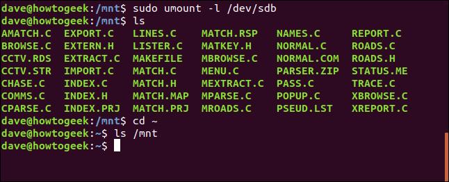 umount -l lazy option in a terminal window