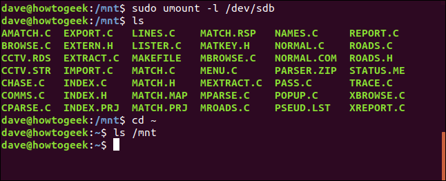 umount -l lazy option in a terminal window