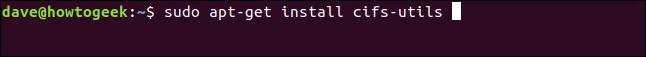 installing cifs in a terminal window
