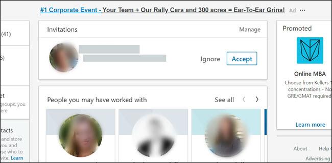 An invitation request on LinkedIn