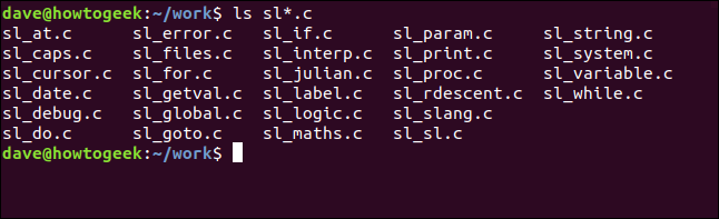 ls sl*.c in a terminal window