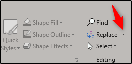 replace font option in editing group