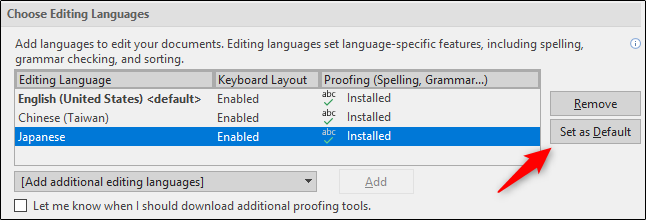 set default language