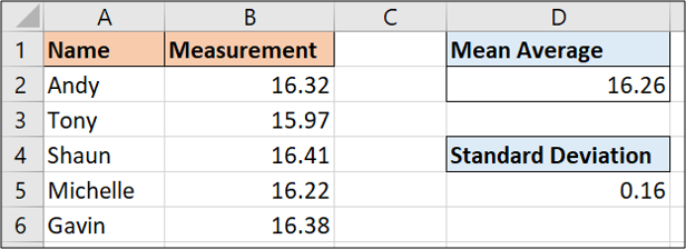 Standard deviation of a set of values using STDEV.P