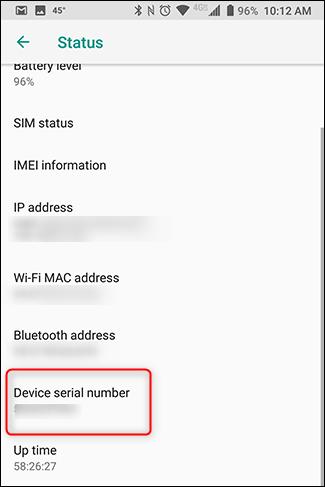 Encontrarás el número de serie de tu dispositivo en la configuración del dispositivo.
