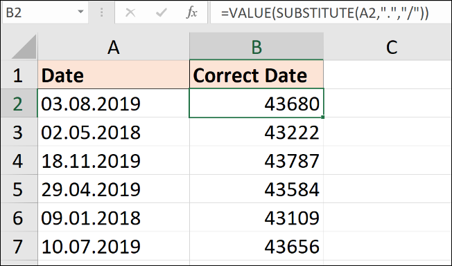 SUBSTITUTE formula to convert text to dates