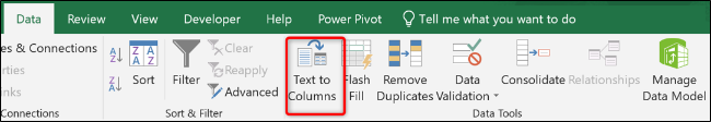 Text to Columns button from the Data tab
