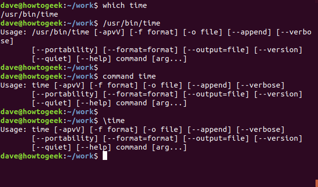 time command output in a terminal window