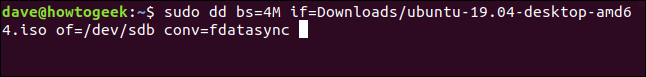 the dd command in a terminal window