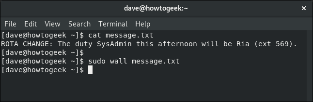 wall command used with a text file in a terminal window