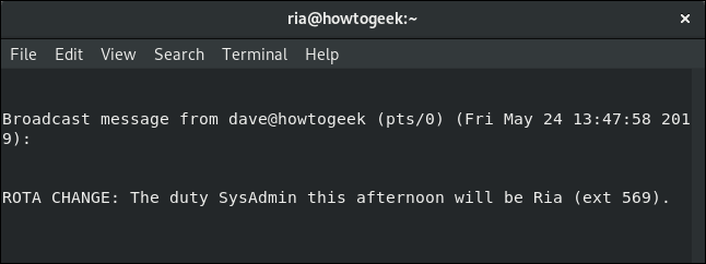 wall message to Ria in a terminal window