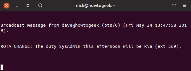 wall message to Dick in a terminal window
