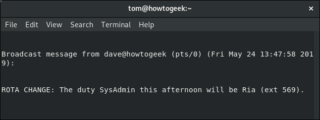 wall message to Tom in a terminal window