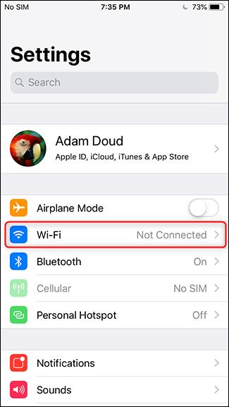 Step 2 - Tap Wi-Fi
