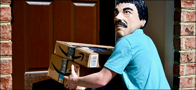 A strange masked man stealing packages from an unsuspecting home.