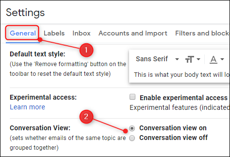 The Conversation View setting in Gmail