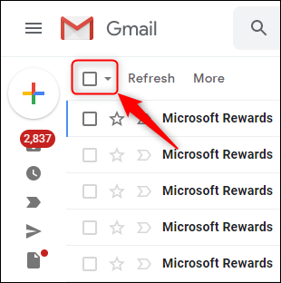 The Gmail selection checkbox