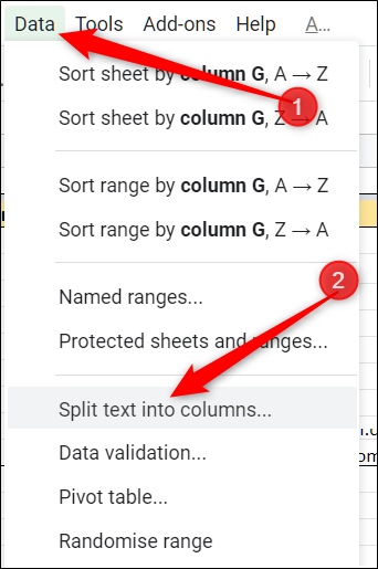 Click Data > Split text into columns
