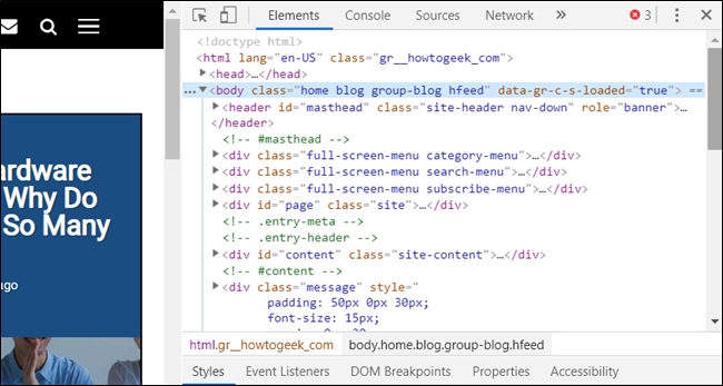 Developer Tools opens as a docked pane in Chrome
