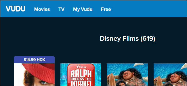 Vudu's Disney library, which contains 619 Disney films.