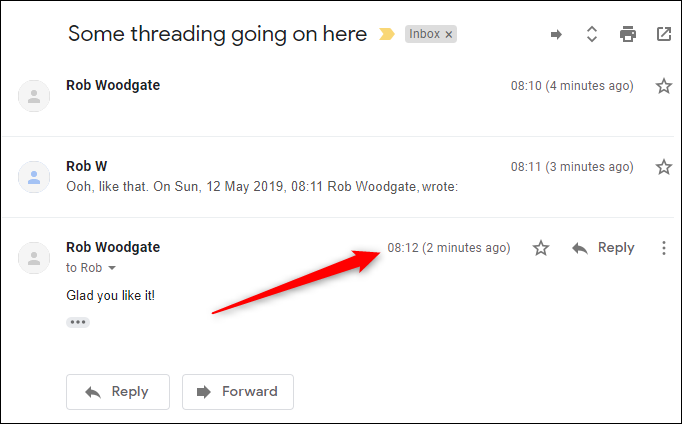 The default threading with the new mail at the bottom