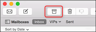 The Archive button in Apple Mail