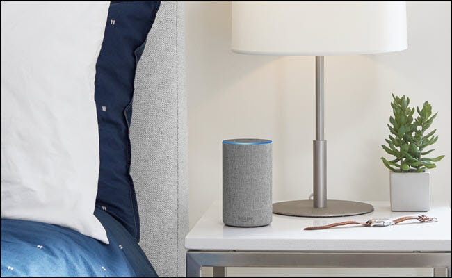 Amazon Echo on a nightstand.