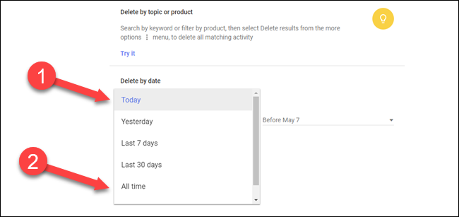 Delete by topic or product dialog with arrows pointing to today dropdown and all time option