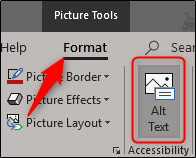 Alt text option in Format tab