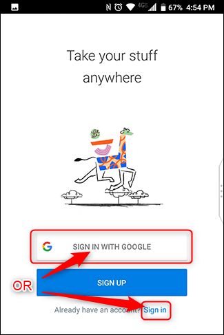 Siogn in with your Google Account or other email address.