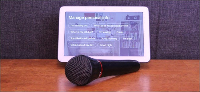 Google Home Hub with a Microphone in front of it.