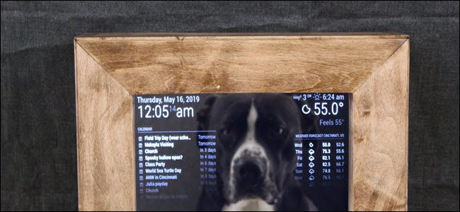 Smart mirror with calendar, weather, and a dog in the reflection.