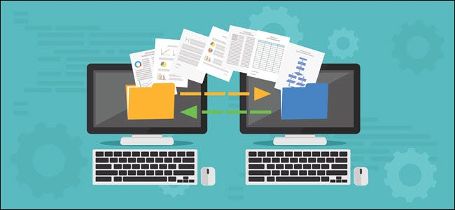 Copy File, Data Exchange. Transfer file concept - Vector