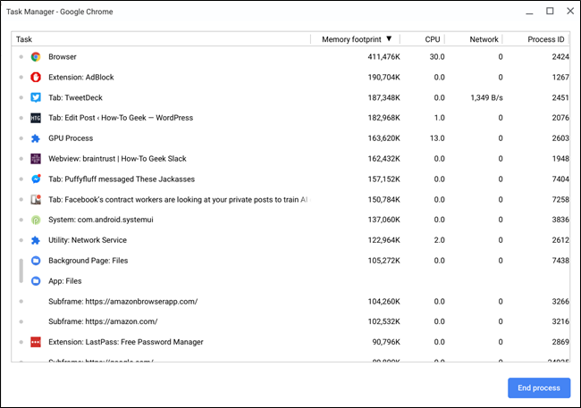 task manager in Chrome OS