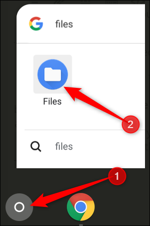 Tap the Search button, then type Files to find the Files app