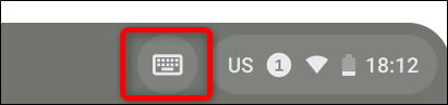"The on-screen keyboard icon appears next to the taskbar when you enable the feature. Click to bring up the keyboard or minimize it. ""Width ="" 411 ""height ="" 97"