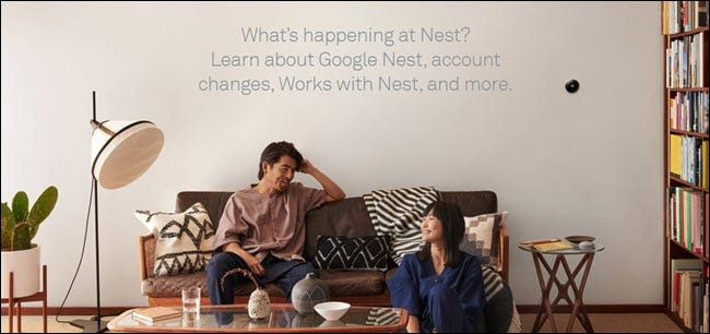 """Two people in a living room with a nest in the background and the words """"What's happening with nest?"""""""