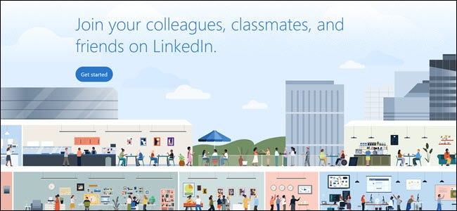 "LinkedIn graphic encouraging you to join your ""colleagues, classmates, and friends"" on the site."