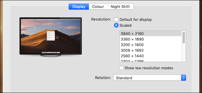 Mac resolution header
