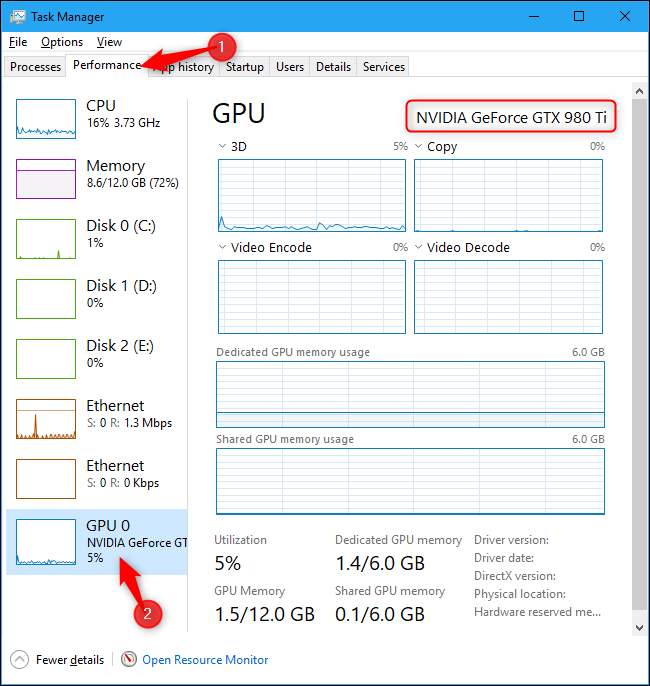 Name of computer's GPU shown in Windows 10's Task Manager