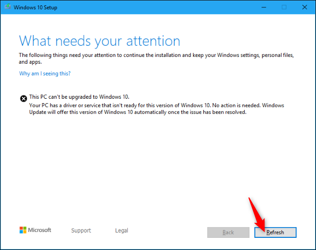 Resuming Windows 10 Setup with the Refresh button