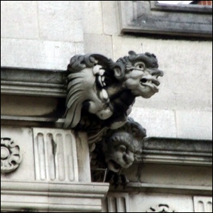Grotesque by Nathaniel Hitch on exterior of 2 Temple Place. Embankment, London