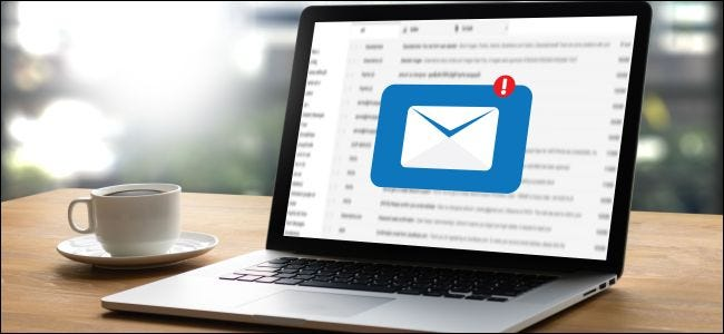Email inbox on a laptop