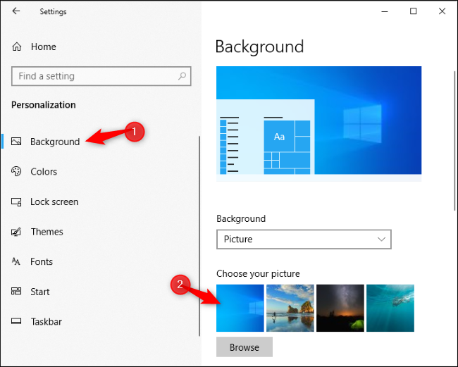 Selecting Windows 10's new default desktop background