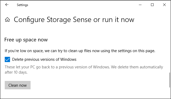 Delete previous versions of Windows in the Settings app